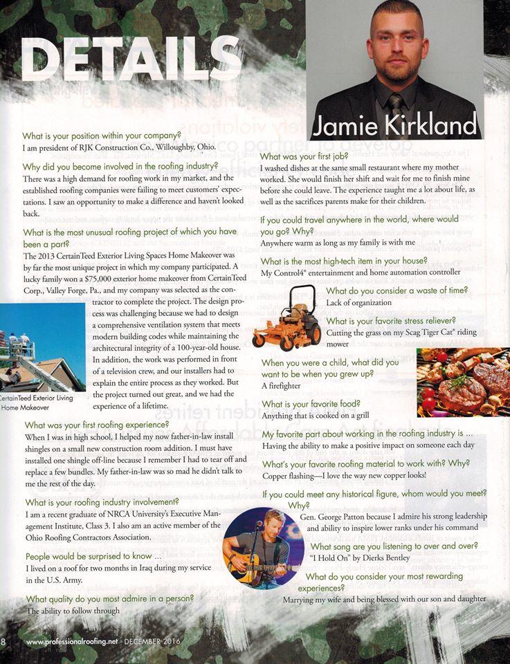 Jamie Kirkland Featured in Professional Roofing Magazine