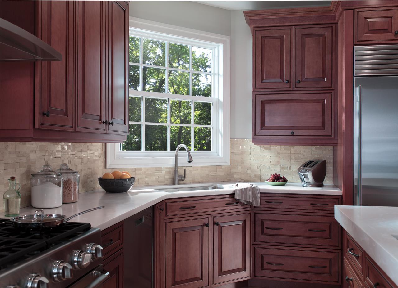 Energy-efficient fiberglass windows in kitchen
