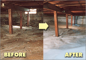 Crawl space with vapor barrier installed in Knoxville, TN
