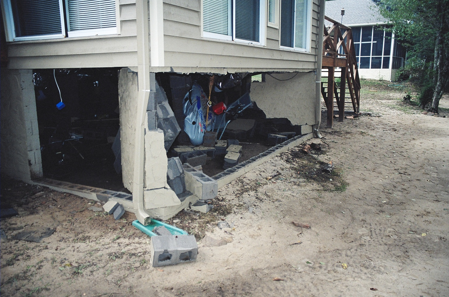 Foundation walls damaged by flooding