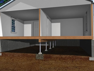 Crawl space floors after installing SmartJack®
