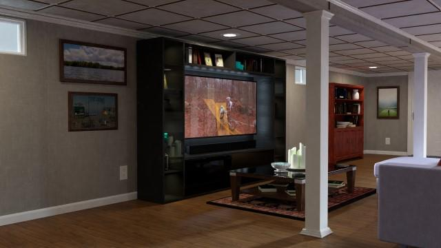3D rendering of a remodeled basement