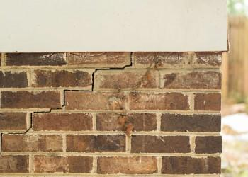 Stair-step crack in a brick foundation