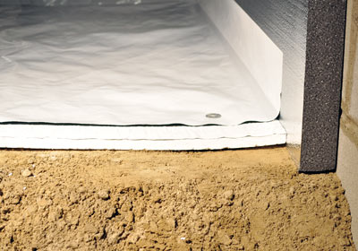 Crawl space floor insulation with TerraBlock foam, cut to fit inside SilverGlo wall insulation