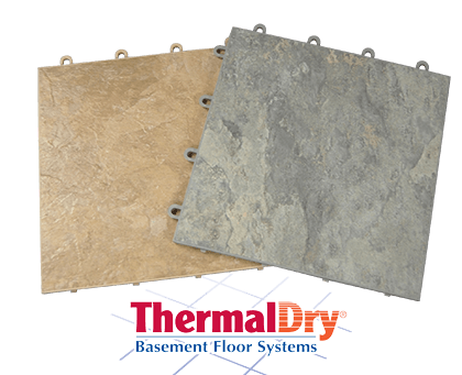 Image of two ThermalDry® modular basement floor tiles