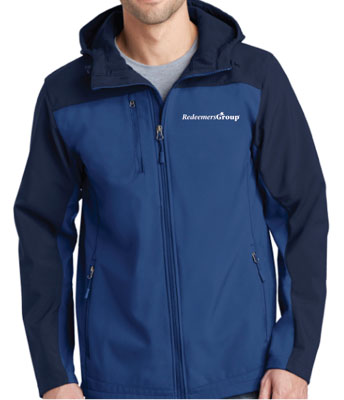 Soft Shell Jacket, Full Zip - Navy + Blue