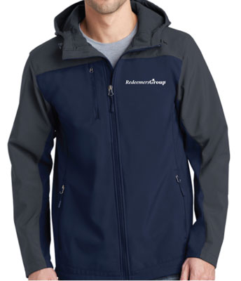 Soft Shell Jacket, Full Zip - Gray + Navy