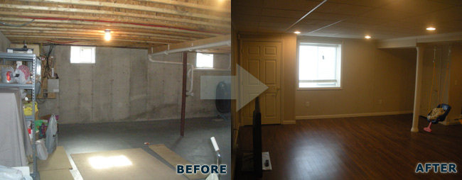 Basement Finishing before and after pictures