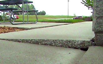 Sinking sidewalk