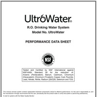 UltroWater Drinking Water System Specs