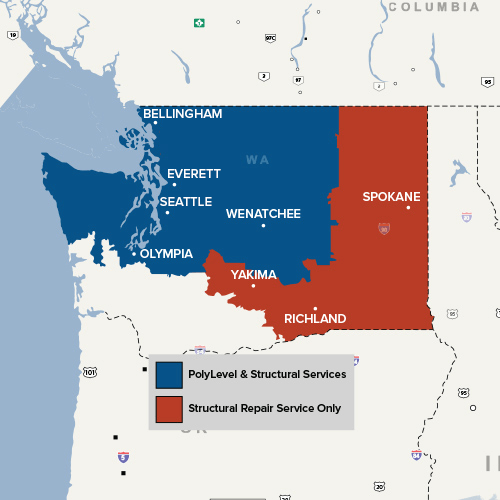 Our WA service area map, showing our services in Seattle, Tacoma and nearby