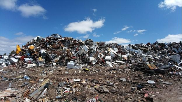 A large electronic waste landfill.
