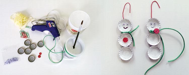 DIY Bottle Cap Snowman Ornaments