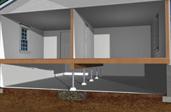 Crawl Space in Wilmington, NC with steel supports