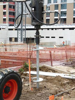 Commercial Helical Piering Project in Fayetteville , CN