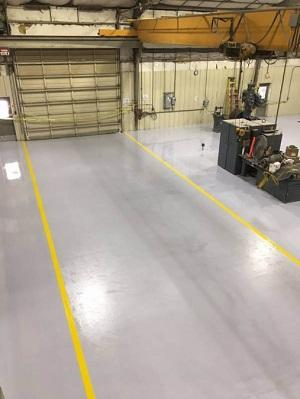 Industrial concrete garage floor