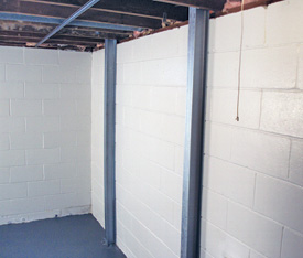 Foundation wall reinforcement system in Concord, North Carolina
