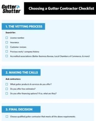 Gutter Shutter Checklist Download