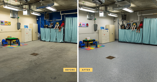 before and after garage makeover at children's hospital
