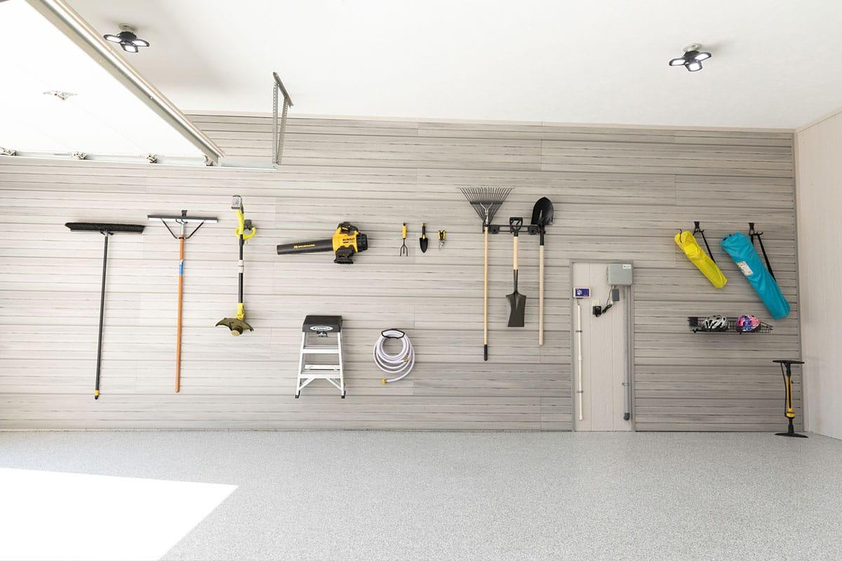 Hello Garage slatwall and accessories clean up garage clutter.