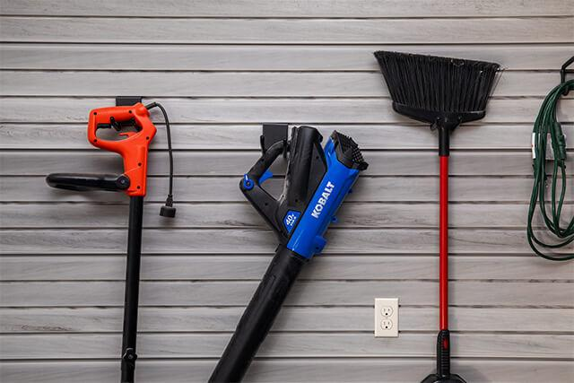 Garage organization, slatwall and accessories