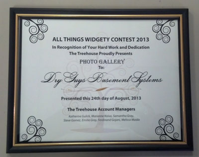 Dry Guys Basement Systems Wins Award for 2013 All Things Widgety Contest for Photo Gallery