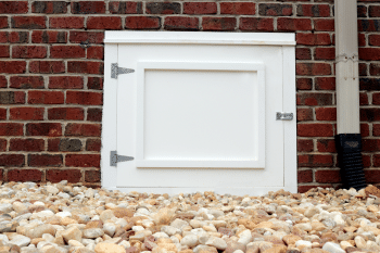 Outside view of a crawl space access door