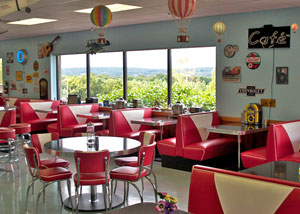 A cafeteria designed to look like a 50's style diner.