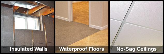 Basement walls, floors, and ceilings