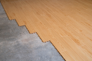 Faux-wood plank flooring