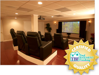 Milwaukee finished basement into a home theater.