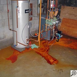 iron ochre on a basement floor.
