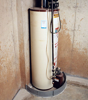 An old, outdated water heater system that's ready to fail
