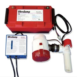 A battery powered sump pump