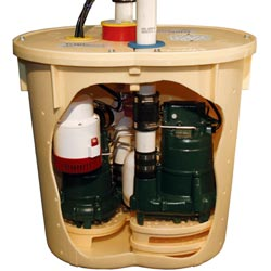 a side view of the TripleSafe sump pump system