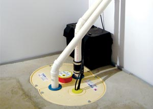 A complete sump pump system installed in a basement