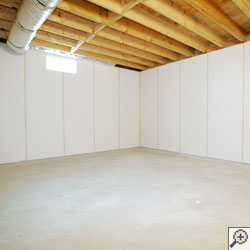 A basement upgraded with sophisticated wall panels.