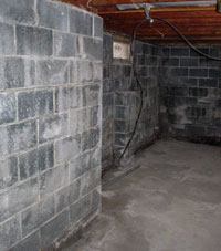 Concrete block walls of a home foundation