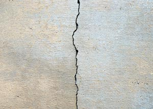 A crack along a concrete wall