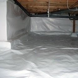 A sealed and encapsulated crawl space.
