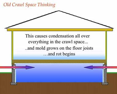 Condensation on floor joists cause mold growth and rot begins