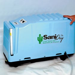 A dehumidifier installed in a crawl space.