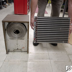 A comparison of the cold coils on two basement dehumidifier systems.