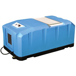 A crawl space dehumidifier system