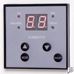 A digital interface on a basement dehumidifier system