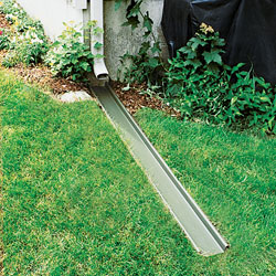 A gutter downspout extension for basement waterproofing