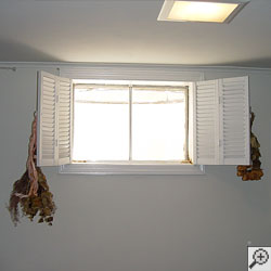 An energy efficient double-paned window installed in a basement.