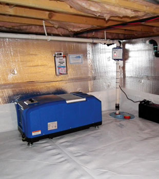 A sealed and insulated crawl space with our energy efficient dehumidifier installed