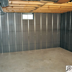 SilverGlo™ insulation installed on basement walls.