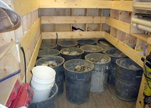 debris from installing a basement perimeter drain